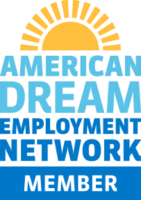American Dream Employment Network (ADEN) logo - yellow sun with blue text